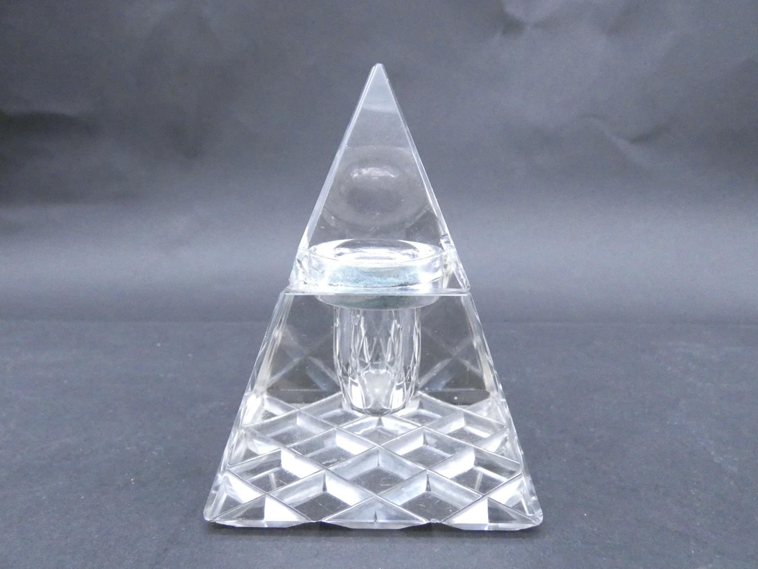 An antique cut glass and brass pyramidal ink well along with a weighted silver ashtray. Hallmarked: - Image 3 of 20