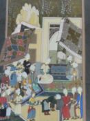 A 20th century framed and glazed Indo-Persian silk painting of a court scene. H.81 W.55cm