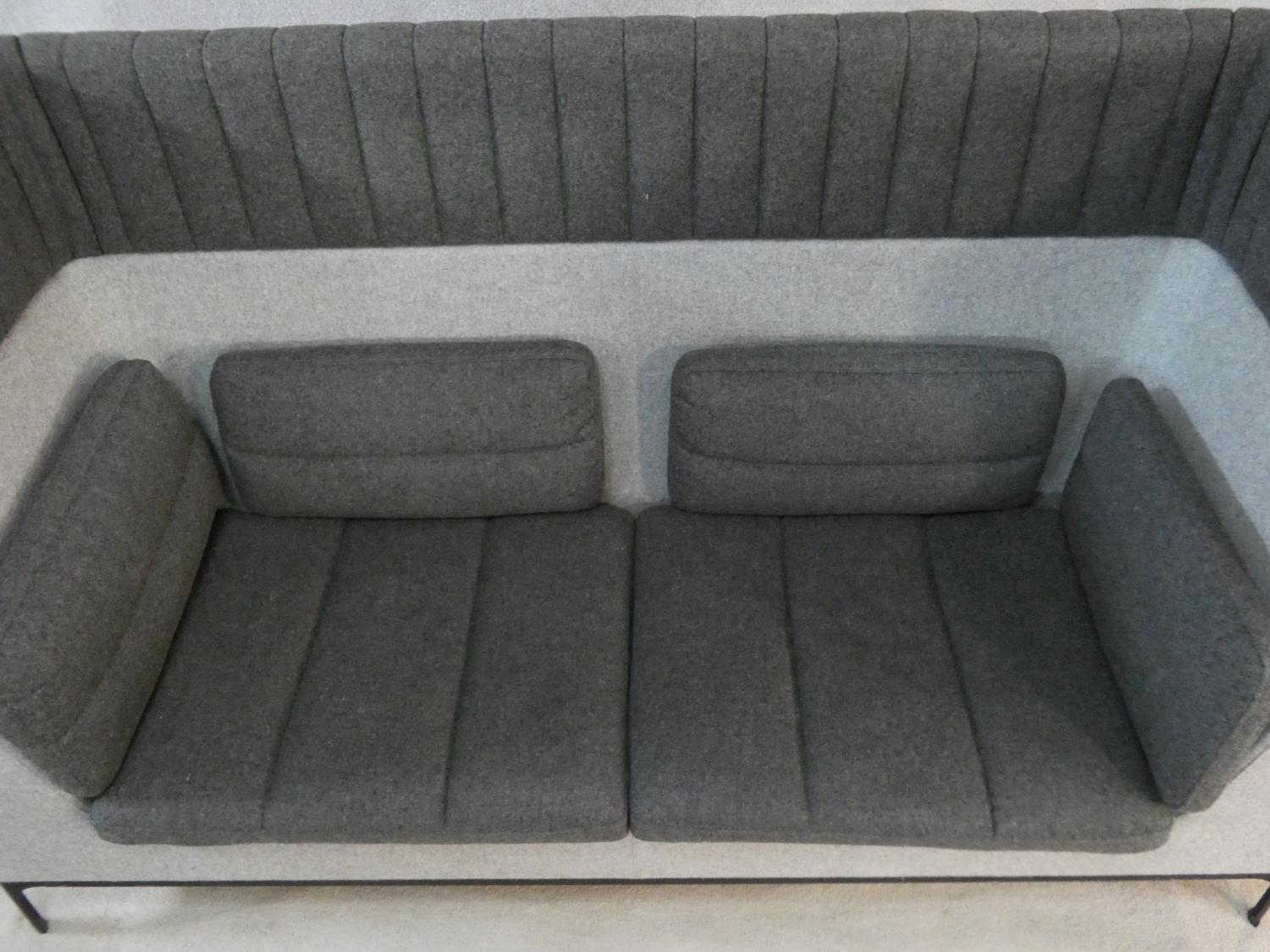 Mark Gabbertas for Allermuir, a Haven sofa in two tones of grey. H.118xW.200xD.81cm - Image 4 of 10