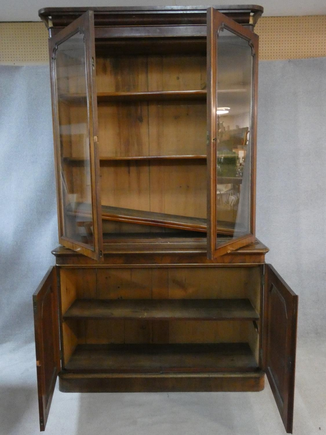 A Victorian mahogany library bookcase with upper glazed doors enclosing book shelves above base - Image 2 of 5