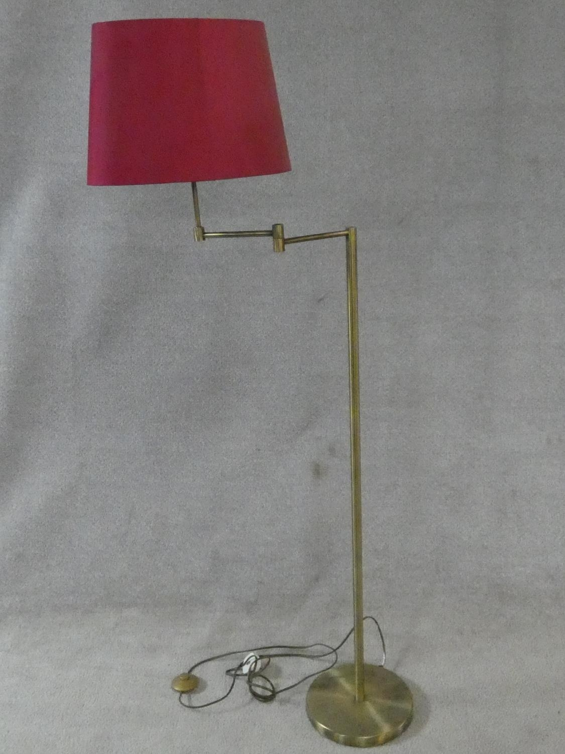 Two brass standard lamps with articulated actions and a chrome adjustable standard lamp. H.162cm - Image 2 of 16