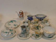 A part 19th century hand painted and gilded Royal Worcester tea service, pattern 1418, teal