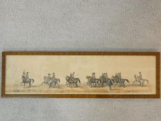 A framed and glazed watercolour, 17th century style cavalry group, unsigned.19x66cm