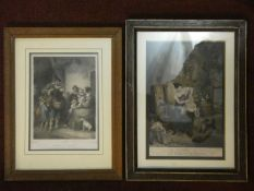 Two framed and glazed antique French hand coloured engravings. One titled 'Le Dimance Matin' and the