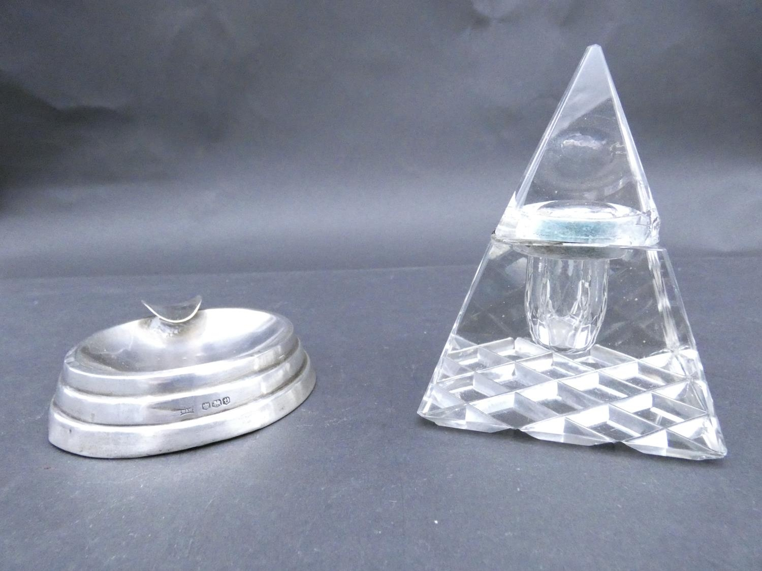 An antique cut glass and brass pyramidal ink well along with a weighted silver ashtray. Hallmarked: - Image 2 of 20