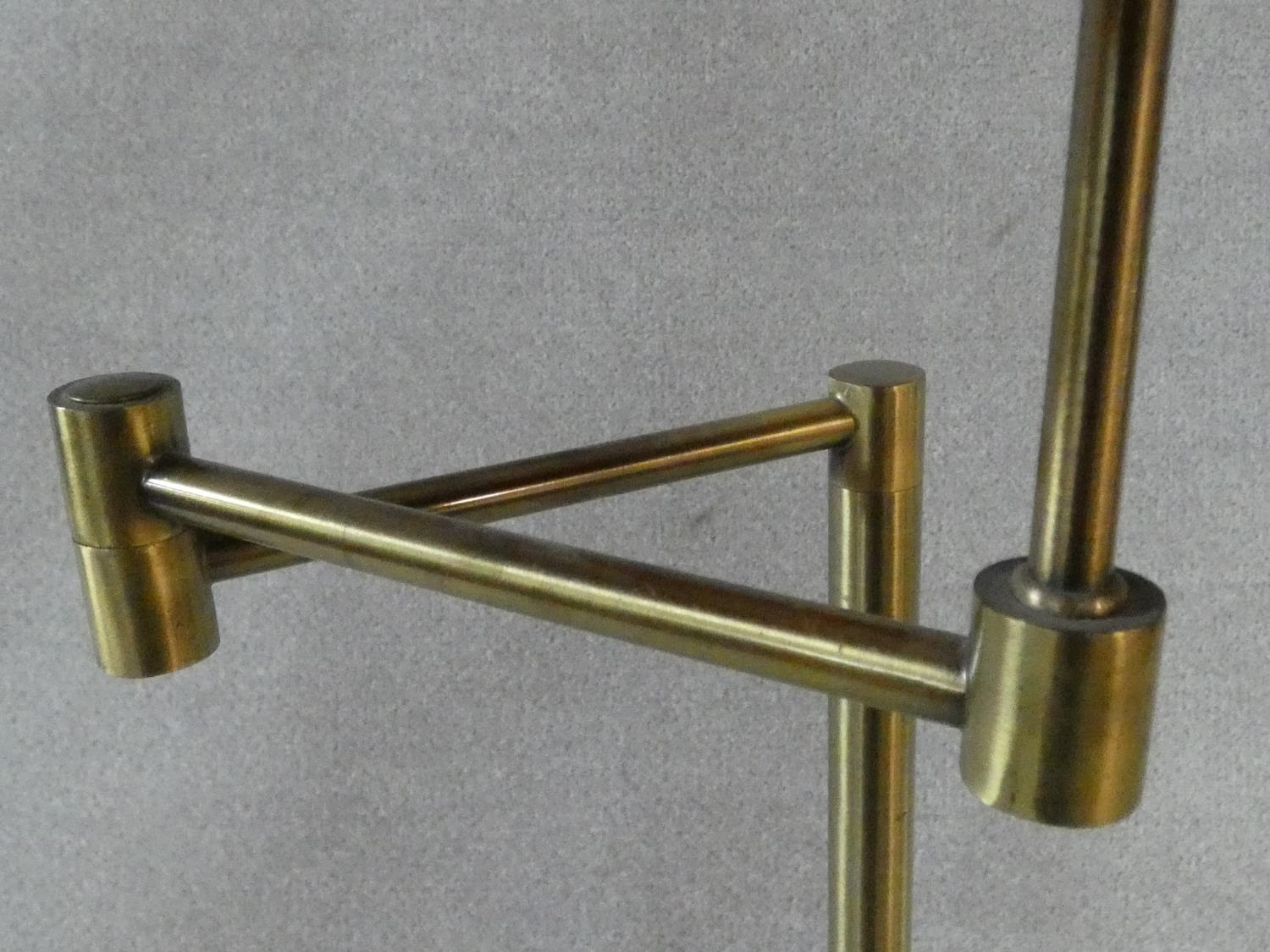 Two brass standard lamps with articulated actions and a chrome adjustable standard lamp. H.162cm - Image 5 of 16