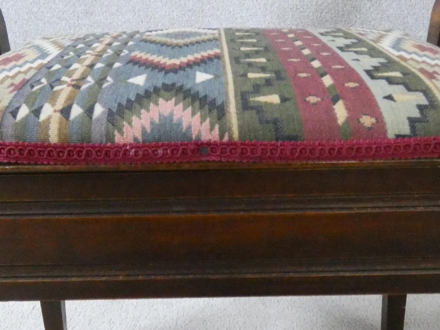 A late 19th century mahogany piano stool on square tapering supports. H.51XL.58XW.35 - Image 6 of 6