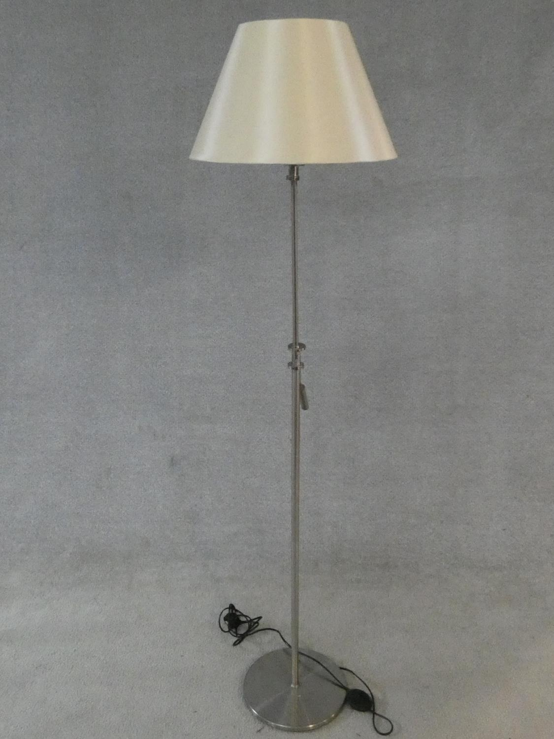 Two brass standard lamps with articulated actions and a chrome adjustable standard lamp. H.162cm - Image 7 of 16