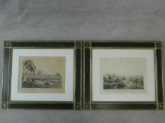 Two gilt framed and glazed antique hand coloured engravings, one by Samuel Howitt (1765-1822) and