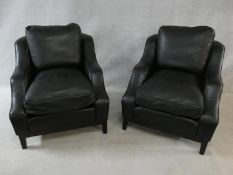 A pair of black grained leather and piped Peter Dudgeon club armchairs. H.95 W.83 D.90cm (a