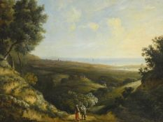 Attributed to James Arthur O'Connor (1792-1841) An oil on canvas, figures to the foreground in an