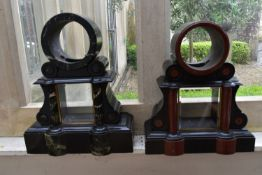 Two 19th century marble and slate mantel clock cases. H.50cm (2)