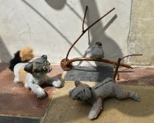 Ross Bonfanti, concrete and mixed material sculptures, two dogs and a bird on a branch, signed and