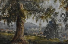 A framed and glazed watercolour, landscape with church in the distance, unsigned. H. 33x40cm
