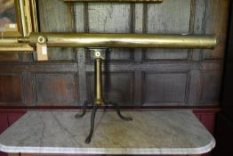"""A large 19th century 3"""" refracting two draw brass telescope with rack and pinion focusing on a"""