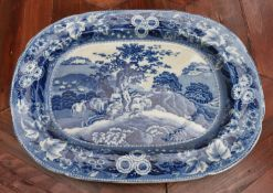 Possibly 18th century, a large blue and white transferware meat platter. L.45cm