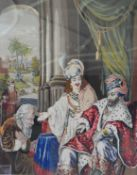 A large 19th century framed and glazed embroidery of an Eastern court scene. H.118xW.98cm
