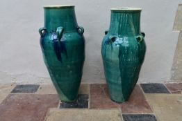 A pair of drip glazed floor standing Sharab wine vessels. H.83xDia.40cm