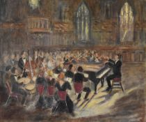 Harold Harris Jones (1908-1991) A framed oil on board, classical concert scene, gallery label to the