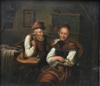 A 19th century oil on board in ornate gilt frame, an old couple seated together, unsigned. H.34x37cm