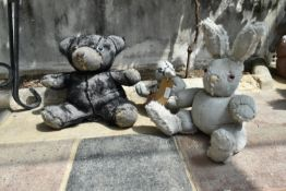 Ross Bonfanti, concrete and mixed material sculpture, a bunny, a teddy and a duck, signed and dated.