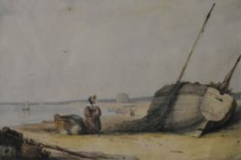 A 19th century framed and glazed watercolour, fishing boats on a beach with figures, monogrammed