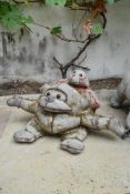 Ross Bonfanti, concrete and mixed material sculpture, two monkeys, signed and dated. H.26cm