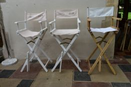 Three director's style high chairs with branded canvas backs and seats. H.120xW.55cm (3)