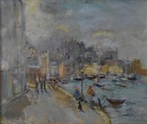 Harold Harris Jones (1908-1991), a gilt framed and glazed oil on board, the waterfront at