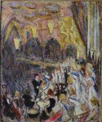 Harold Harris Jones (1908-1991) a gilt framed oil on board, scene from an opera house, signed. H.
