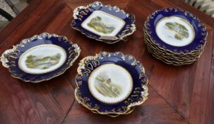 A Royal Worcester style 19th century porclelain twelve piece dessert service, comprising a pair of