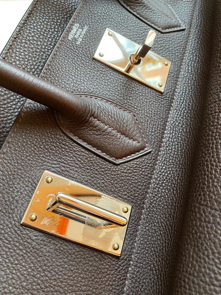 A Brown Hermes Birkin 50cm Haut A Courroies in clemence leather with gold hardware. Includes - Image 10 of 16