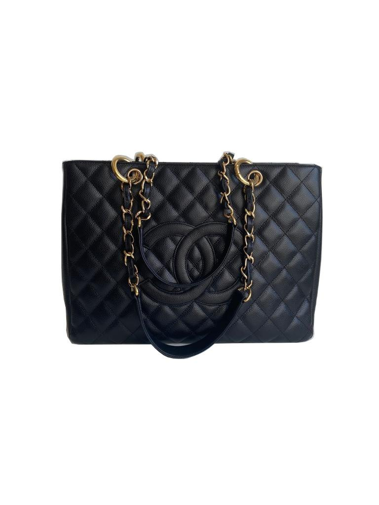 A Chanel Grand Shopping Tote Black Caviar leather with gold hardware. W.33cm x H.25.5cm x D.13.5cm