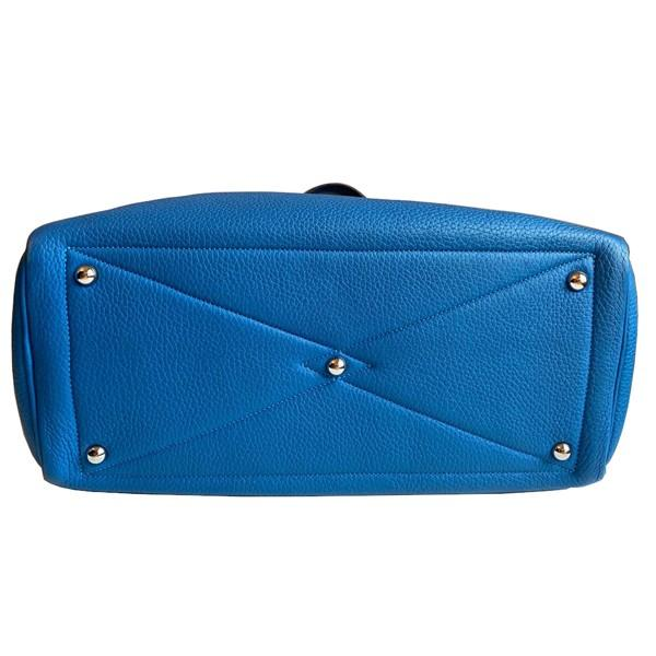 An Hermes Bleu de Galice Victoria II in clemence leather with palladium hardware. Includes - Image 6 of 11