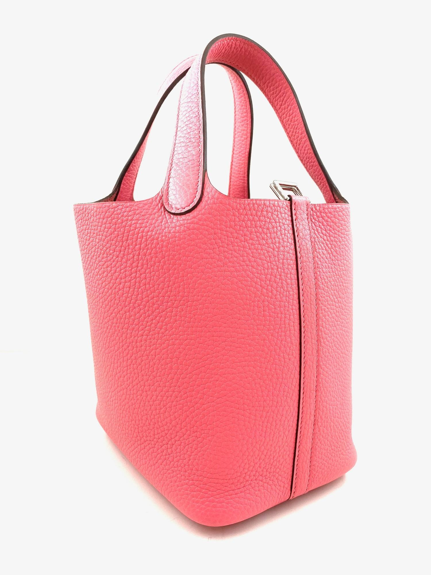 A Rose Azalee Hermes Picotin 18cm in clemence leather with palladium hardware. Includes Box, Dustbag - Image 2 of 5