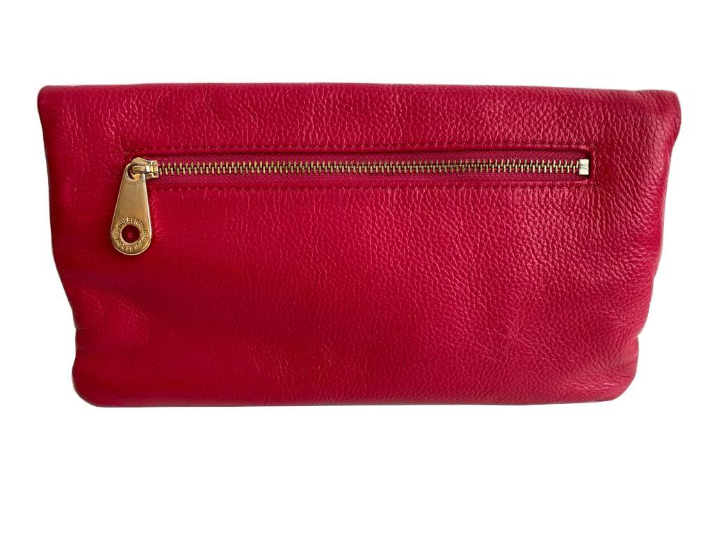 A Mulberry Darwin Convertible Clutch Purse Raspberry in calf leather and silver hardware. W.28cm x - Image 4 of 5