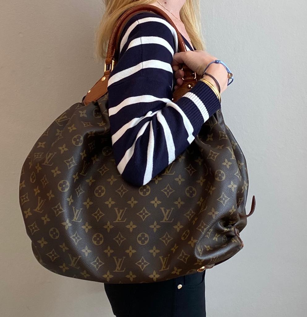 A Louis Vuitton Mahina XL Crocodile Trim Tote in Monogram canvas leather and gold hardware. Includes - Image 15 of 16