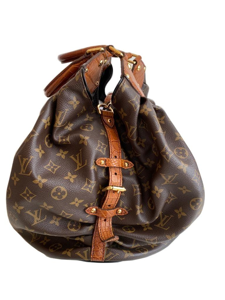 A Louis Vuitton Mahina XL Crocodile Trim Tote in Monogram canvas leather and gold hardware. Includes - Image 2 of 16