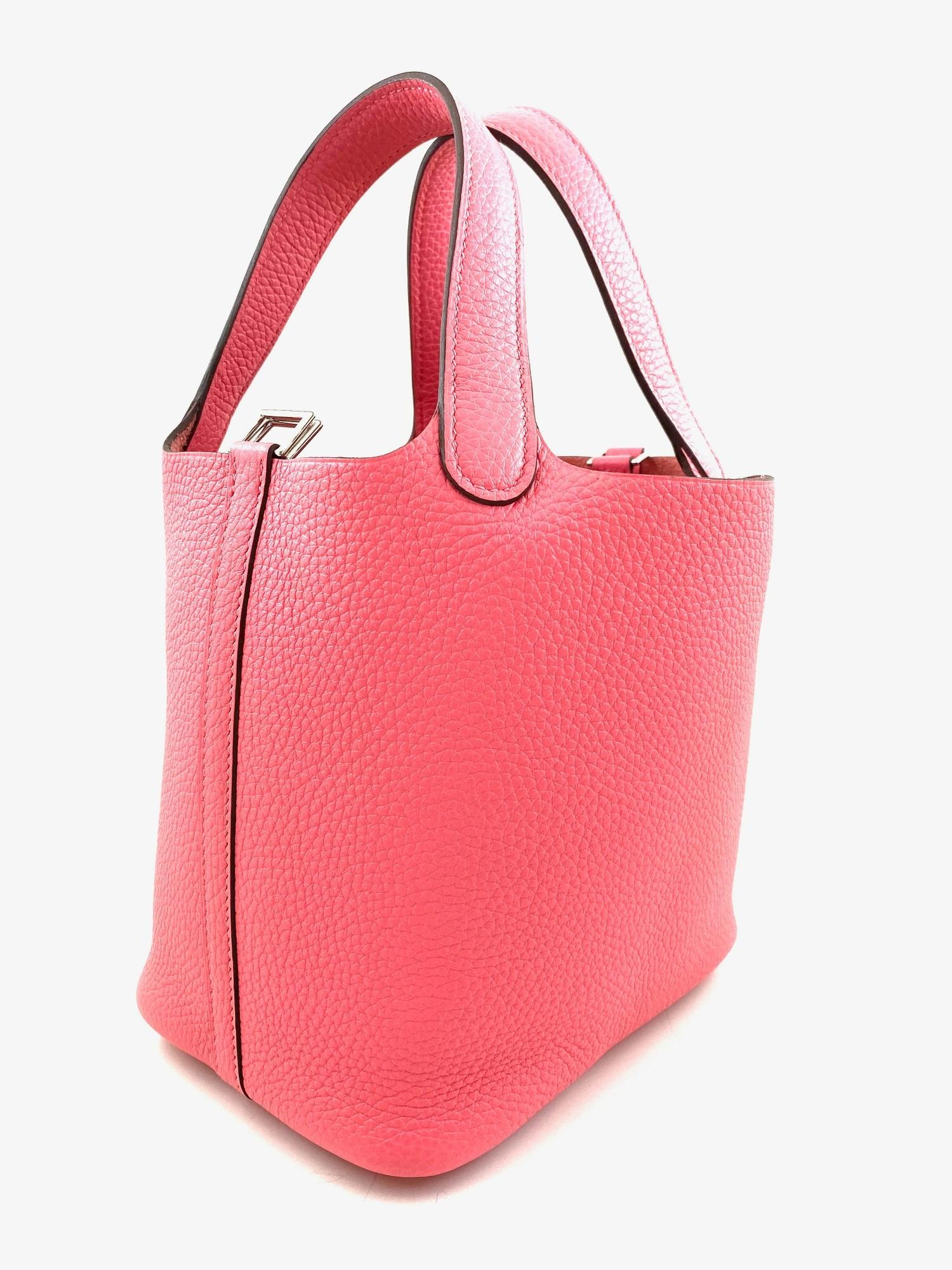A Rose Azalee Hermes Picotin 18cm in clemence leather with palladium hardware. Includes Box, Dustbag - Image 4 of 5