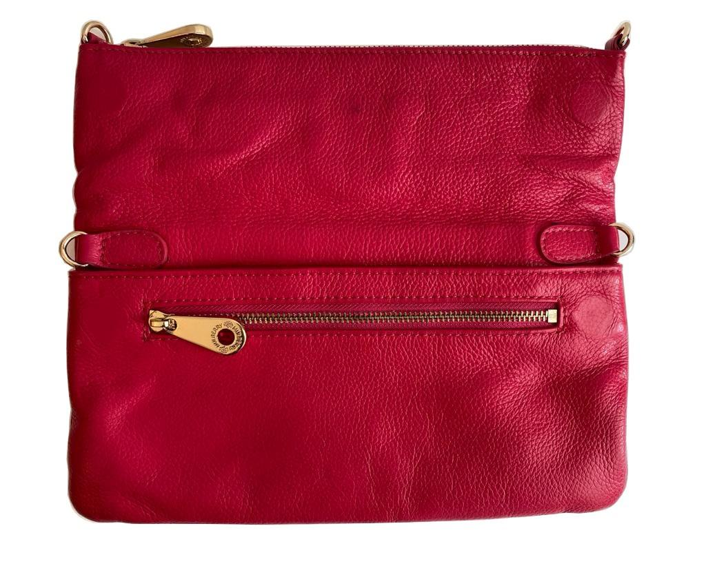 A Mulberry Darwin Convertible Clutch Purse Raspberry in calf leather and silver hardware. W.28cm x - Image 3 of 5
