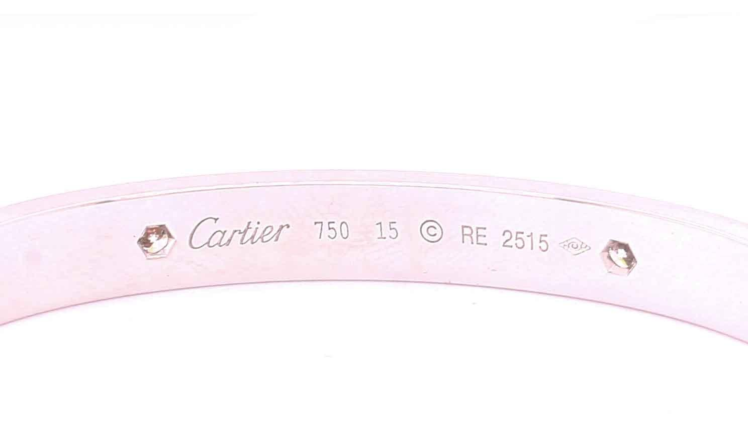 An authentic 18ct white gold 4 diamond Cartier Love bracelet / bangle with original screw, box and - Image 3 of 4