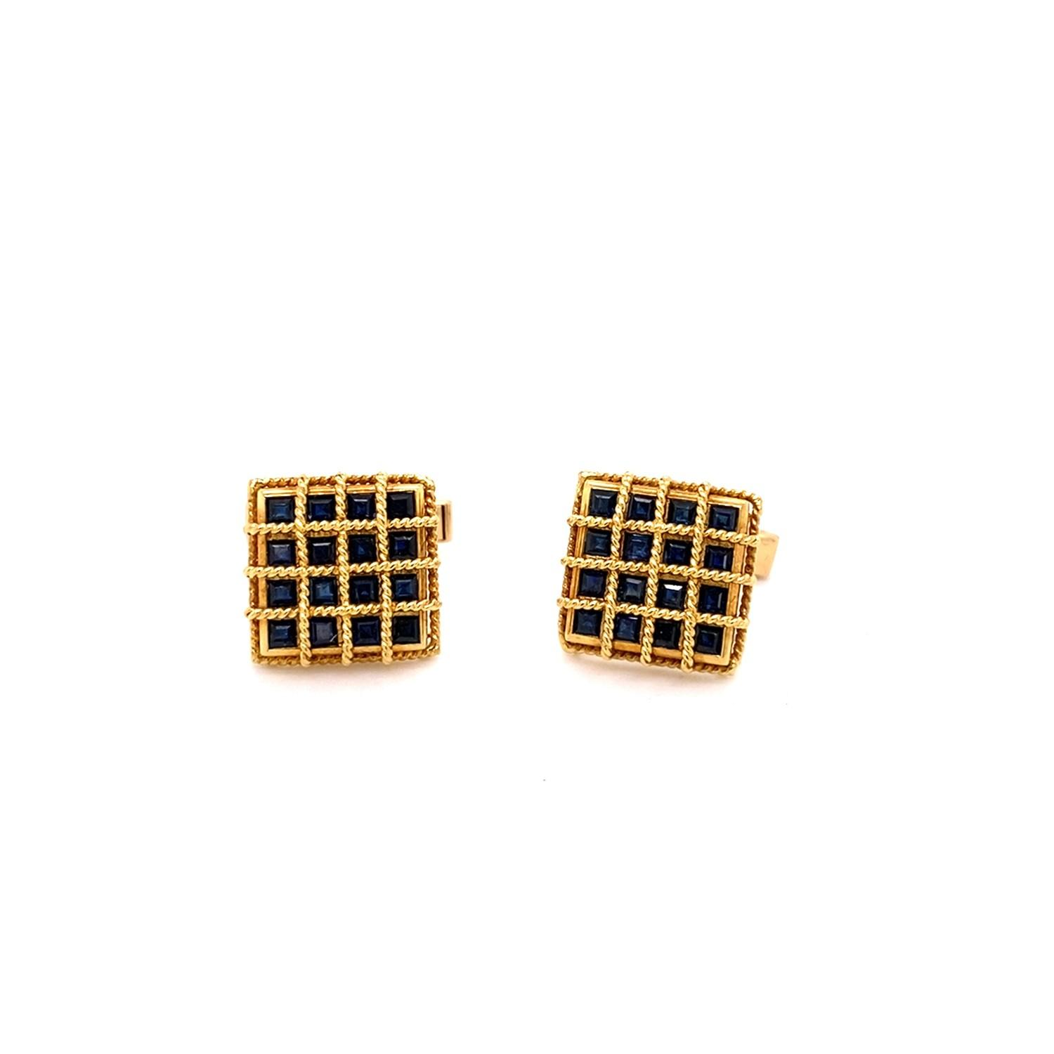 A pair of Vintage Kutchinsky pave set Sapphire Cufflinks mounted in 18ct yellow gold. Kutchinsky, - Image 2 of 4
