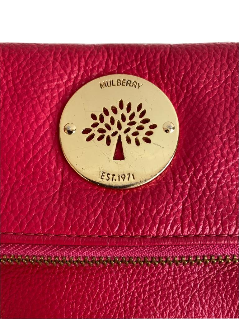 A Mulberry Darwin Convertible Clutch Purse Raspberry in calf leather and silver hardware. W.28cm x - Image 2 of 5