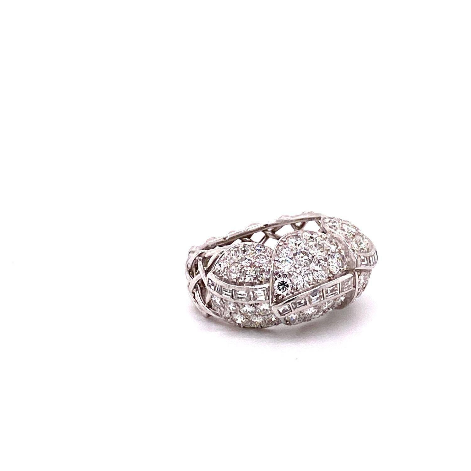 A 1950's Cartier Cocktail Ring, Cartier baguette and brilliant cut pave set dome top bombe ring - Image 5 of 8