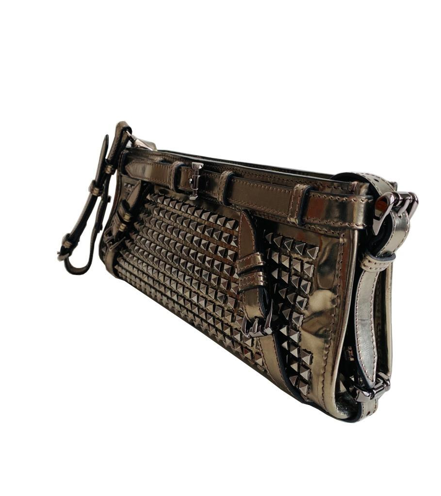 A Burberry metallic Clutch in Pewter Patent leather with silver hardware. Includes Dustbag, - Image 2 of 6