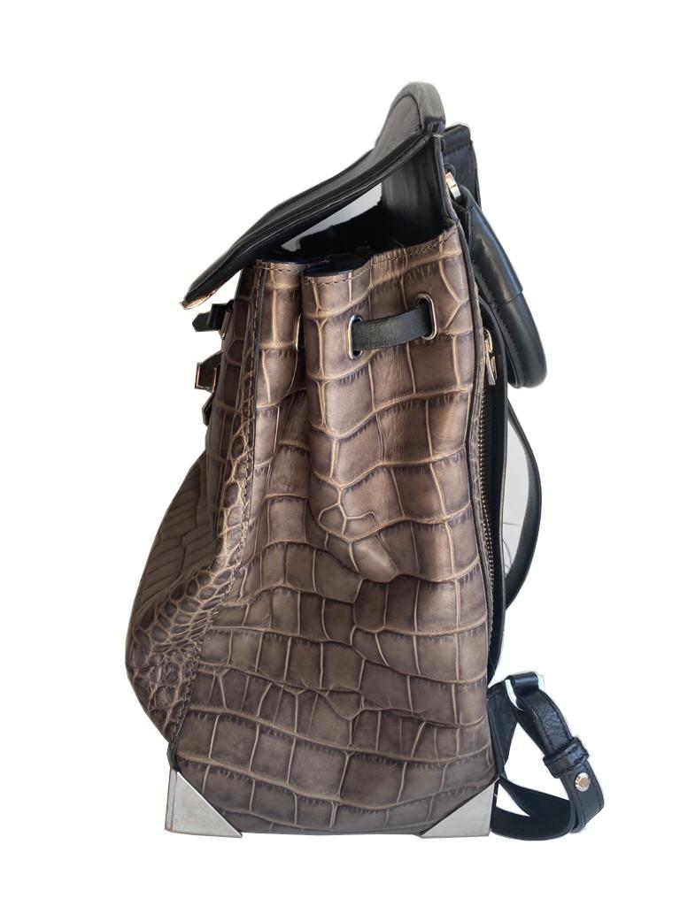 An Alexander Wang Prisma Skeletal Leather embossed Crocodile Backpack with silver hardware. Includes - Image 6 of 11