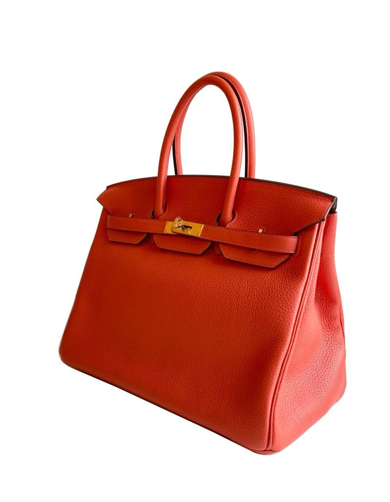A Rouge Pivoine Hermes Birkin 35cm in clemence leather with gold hardware. Includes Box, Dustbag, - Image 3 of 5