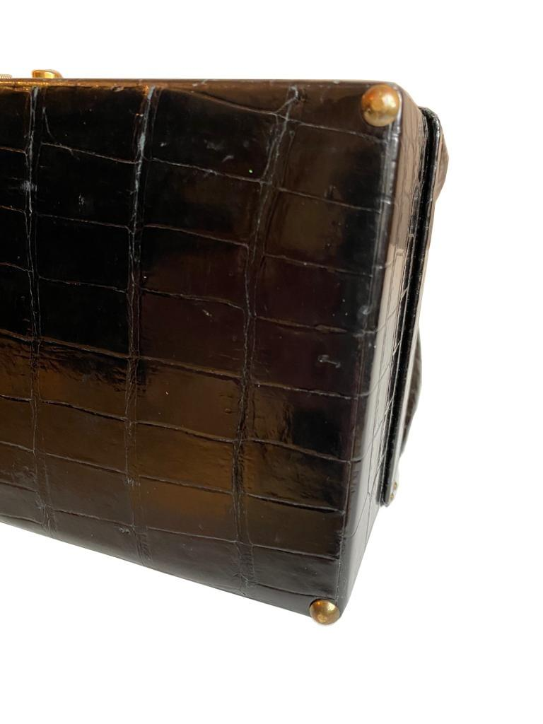 A Hermes Mallet Bag in black shiny Crocodile with gold hardware. Believed to be from the 1960's. - Image 6 of 9