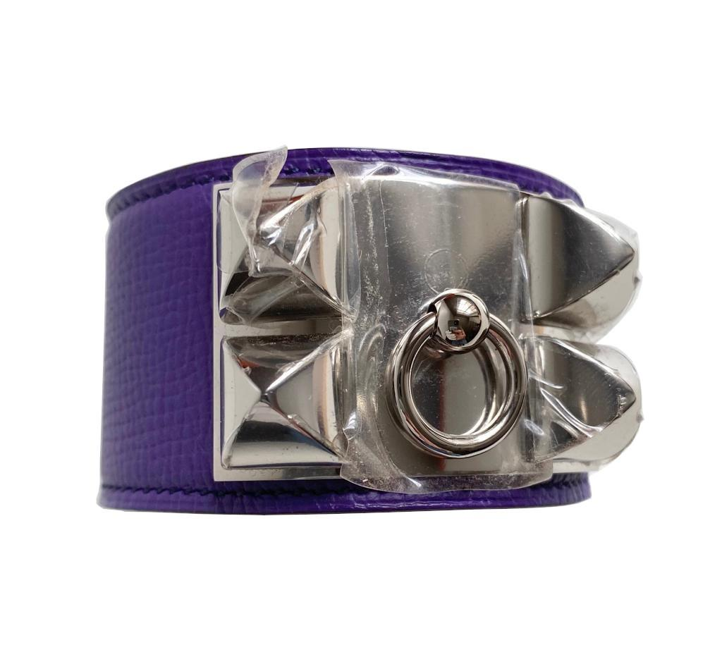 A Hermes Bracelet Collier de Chien Iris in Epsom leather with silver hardware. Includes Box, size - Image 2 of 5