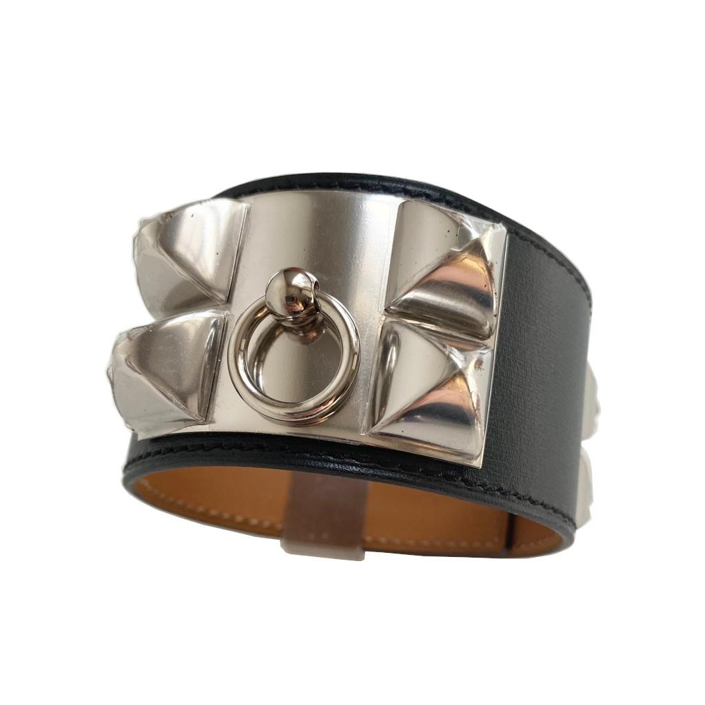 A Hermes Bracelet Collier de Chien black in swift leather with silver hardware. Includes Box. Size - Image 2 of 5